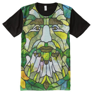Colorful Green Man Watercolor Art All-Over Print T-Shirt