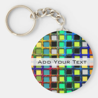 Colorful Grid-Tiled by Shirley Taylor Basic Round Button Key Ring