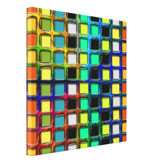Colorful Grid-Tiled Stretched Canvas Print