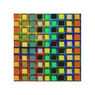 Colorful Grid-Tiled Wood Canvases