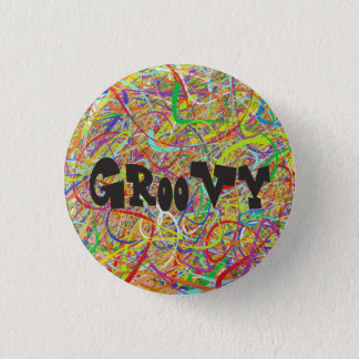 Colorful Groovy Hippie 3 Cm Round Badge