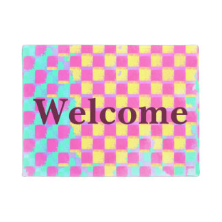 Colorful Grunge Checkerboard Pattern Welcome Doormat