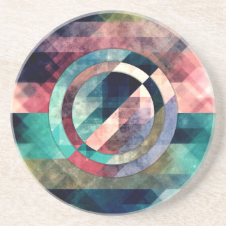 Colorful Grunge Geometric Abstract Beverage Coasters