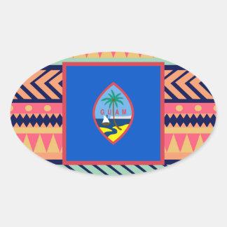 Colorful Guam Flag Box Oval Sticker