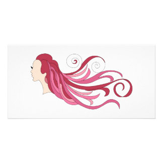 Colorful hair photo cards