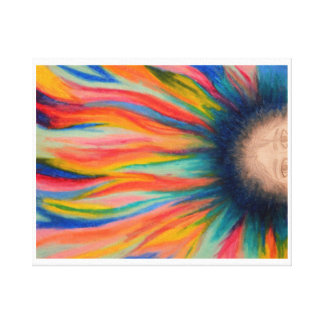 Colorful Hair Wrapped Canvas Stretched Canvas Print