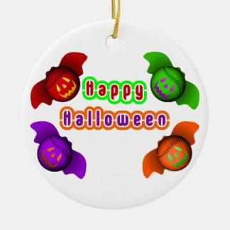 Colorful Halloween Baseball Bats Round Ceramic Decoration