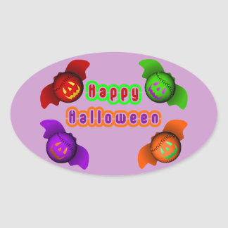 Colorful Halloween Baseball Bats Stickers