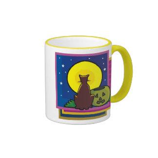 Colorful Halloween Cat Art Mugs