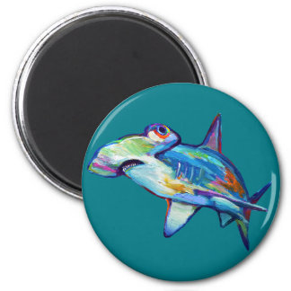 Colorful Hammerhead Shark by Robert Phelps Magnet