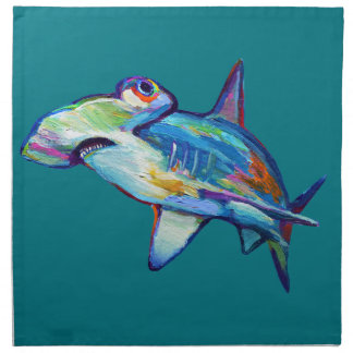 Colorful Hammerhead Shark by Robert Phelps Napkin