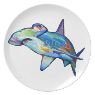 Colorful Hammerhead Shark by Robert Phelps Plate