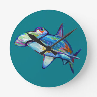 Colorful Hammerhead Shark by Robert Phelps Round Clock