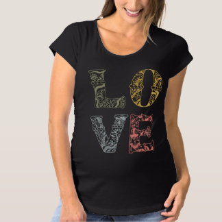 Colorful Hand-drawn Floral Love | Maternity Shirt