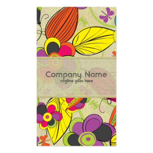 Colorful Hand Drawn Retro Fashion Floral Design Business Card Template