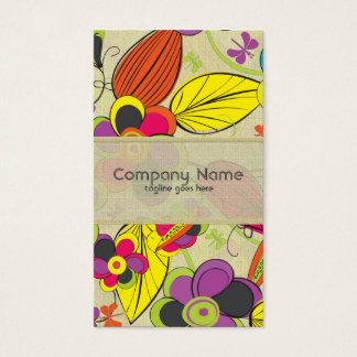 Colorful Hand Drawn Retro Fashion Floral Design Business Card