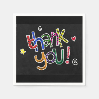Colorful Hand Drawn Thank You Paper Serviettes