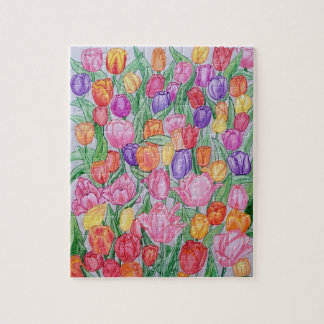 Colorful Hand Drawn Tulips Puzzle