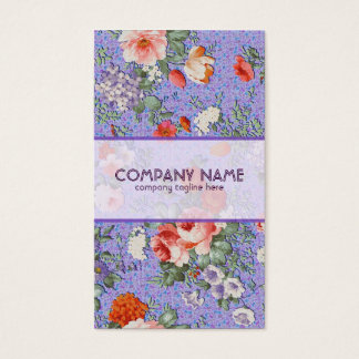 Colorful Hand Painted Rustic Flower-Purple Back Business Card