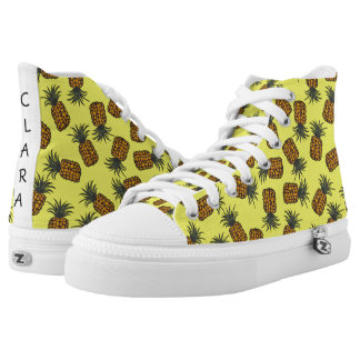 colorful hand painted tropical pineapple pattern high tops