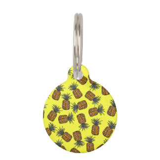 colorful hand painted tropical pineapple pattern pet ID tag