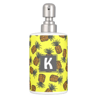 colorful hand painted tropical pineapple pattern soap dispenser and toothbrush holder