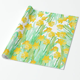 Colorful hand painted watercolor daffodil flowers wrapping paper