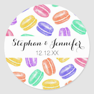 Colorful Hand Painted Watercolor Macaroon Cookies Classic Round Sticker