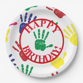 Colorful Hand Print Fifth Birthday Party 9 Inch Paper Plate
