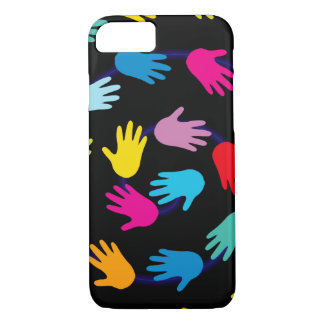 Colorful Hands on Black Background Patterned iPhone 7 Case