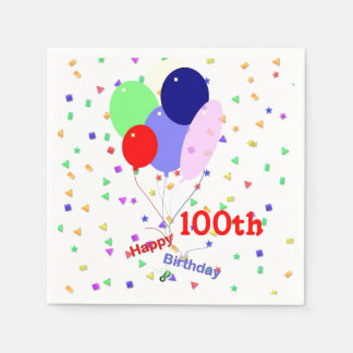 Colorful Happy 100th Birthday Balloons Paper Serviettes