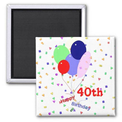 Colorful Happy 40th Birthday Balloons Fridge Magnets