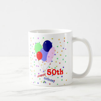 Colorful Happy 50th Birthday Balloons Basic White Mug