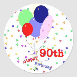 Colorful Happy 90th Birthday Balloons Round Sticker