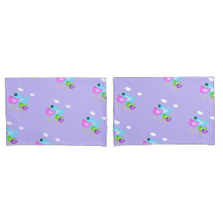Colorful happy bird family purple pillowcase