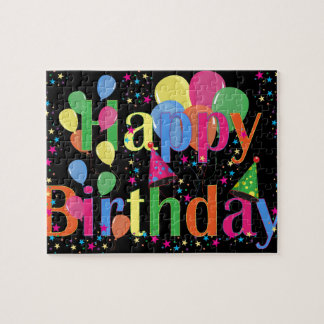Colorful Happy Birthday and Balloons Jigsaw Puzzle
