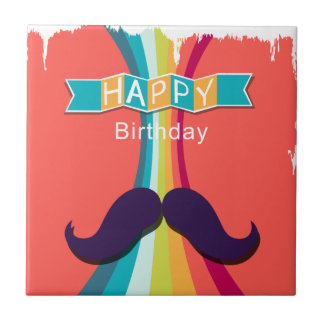 Colorful Happy Birthday and Mustache Small Square Tile