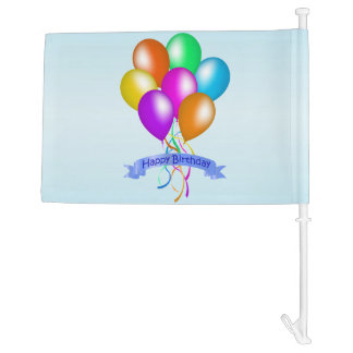 Colorful Happy Birthday Balloons Banner Party Car Flag