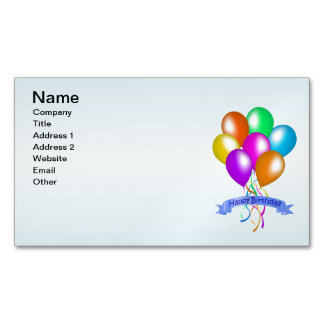 Colorful Happy Birthday Balloons Banner Party Magnetic Business Cards
