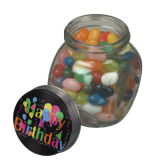 Colorful Happy Birthday Balloons Candy Jar Glass Jars