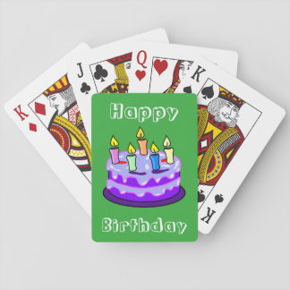 Colorful Happy Birthday Cake Fun Cute Trendy Playing Cards