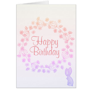 Colorful Happy Birthday Floral Wreath Bunny Card