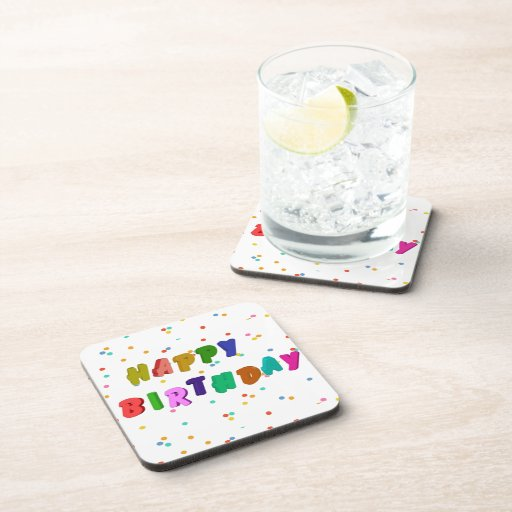 Colorful Happy Birthday Party Drink Coasters