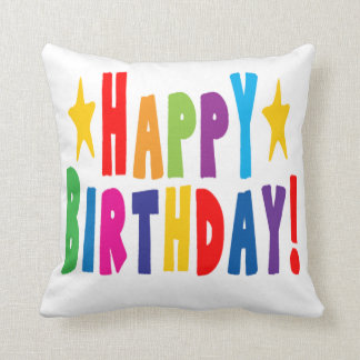 Colorful Happy Birthday Text Cushion