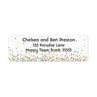 Colorful Happy Confetti Return Address Label