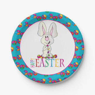Colorful Happy Easter Jelly Beans 7 Inch Paper Plate