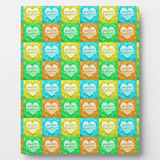 Colorful Happy Easter Pattern Plaque