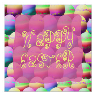 Colorful Happy Easter Sign Poster