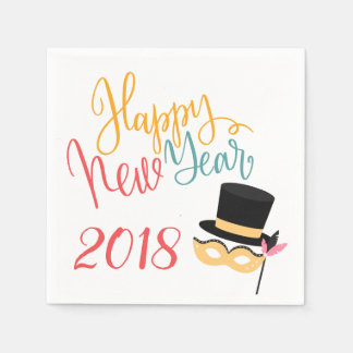 Colorful Happy New Year party mask and hat 2018 Paper Napkins