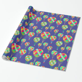 Colorful Harlequin Hot Air Balloons Blue Pattern Wrapping Paper